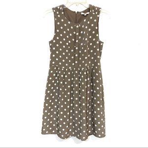 Madewell shirred silk polka dot dress pockets
